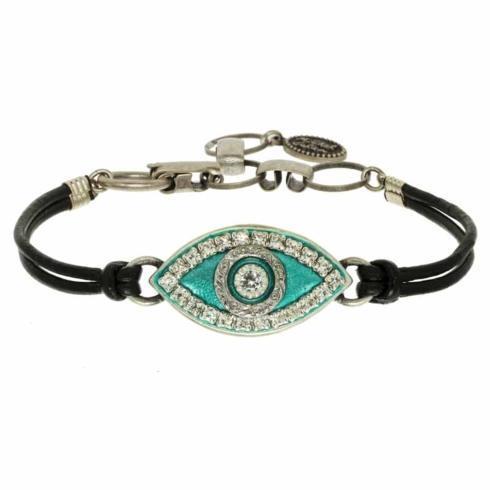 $55.00 Medium green evil eye bracelet