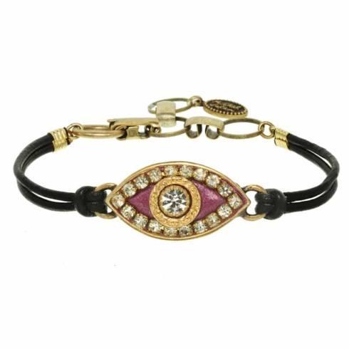 $55.00 Medium fuchsia evil eye bracelet