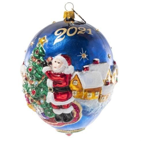 $175.00 2021 Dated Santa Glass Ornament