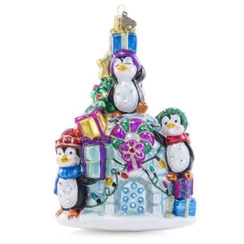 $185.00 Penguin Family Glass Ornament