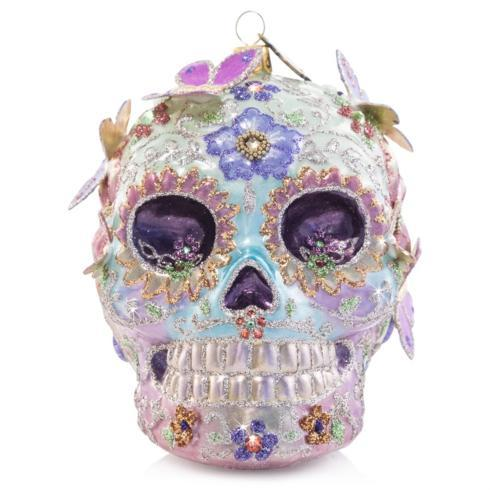 $250.00 Skull With Butterflies Glass Ornament