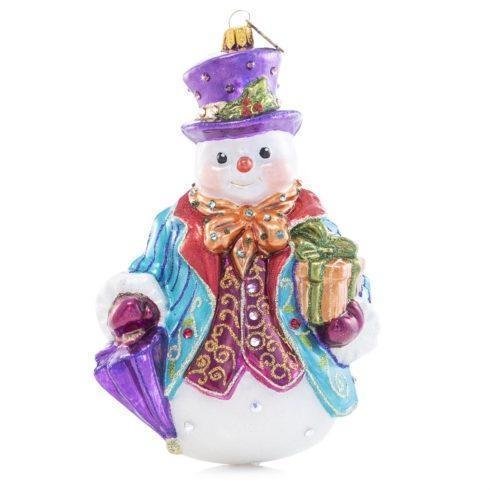 $185.00 Gentleman Snowman Glass Ornament