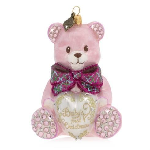 $135.00 Baby\'s First Christmas Teddy Pink Glass Ornament