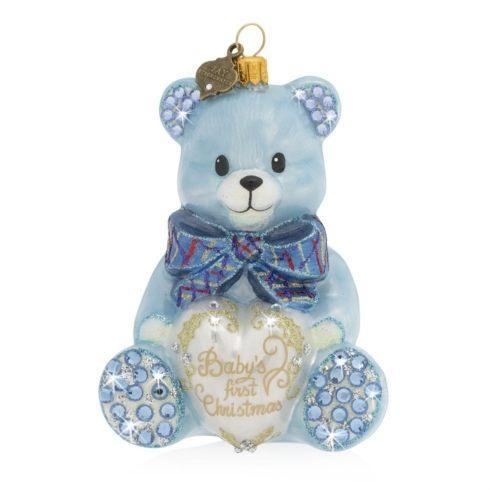 $135.00 Baby\'s First Christmas Teddy Blue Glass Ornament