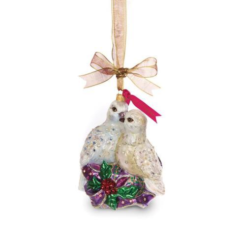 Two Turtle Doves Glass Ornament image