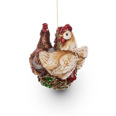 Three French Hens Glass Ornament image