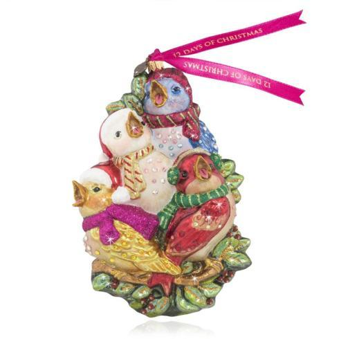 $165.00 Four Calling Birds Glass Ornament