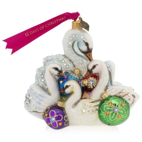 $165.00 Seven Swans of Swimming Glass Ornament