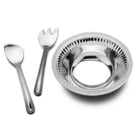 Wilton Armetale  Flutes & Pearls Medium 3 pc Salad Set $93.99
