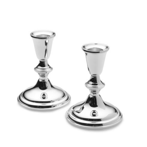 Empire Silver  Sterling Home and Tabletop  Plain Border Candlestick Pair $220.00