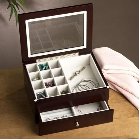 Wallace  Flatware and Jewelry Storage  Jewelry Box W Drawer-Wndw Mahogany 6In $69.99