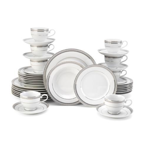 $169.99 Platinum Crown 40PC Dinnerware Set, Service for 8