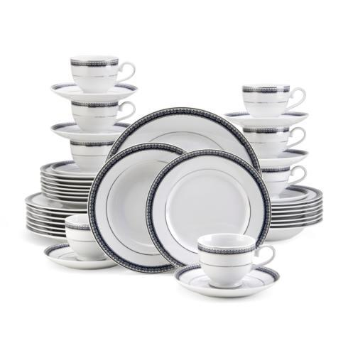 $199.99 Platinum Crown Cobalt 40PC Dinnerware Set, Service for 8