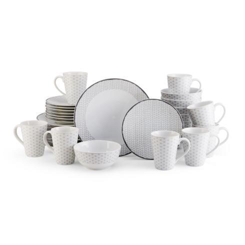 $199.99 Avery Medley Gray 32PC Dinnerware Set, Service for 8