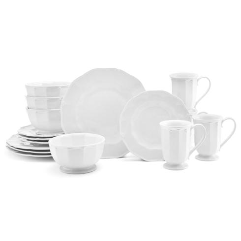 $119.99 16 Piece Set Service for 4  sc 1 st  Royal Gifts u0026 Fine China - Bridge & Mikasa ~ Bordeaux White Dinnerware ~ 16 Piece Set Service for 4 ...