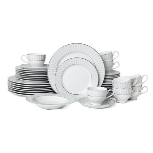 $249.99 Adrian Grey 40PC Dinnerware Set, Service for 8 (Brown Box Remailer)