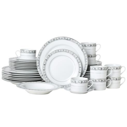 $249.99 Chadwick Grey 40PC Dinnerware Set, Service for 8 (Brown Box Remailer)