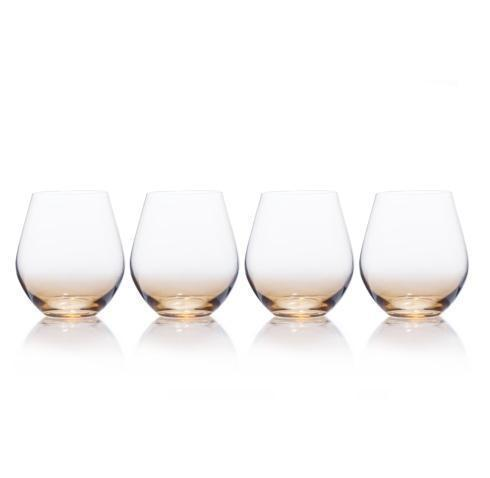 $39.99 Gianna Ombre Amber 19oz. Stemless Wine Glass, Set of 4