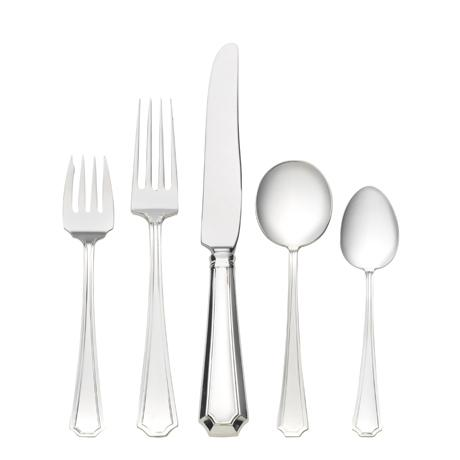 $1,000.00 5 Piece Dinner Setting with Cream Soup Spoon & Old Style Blade Knife