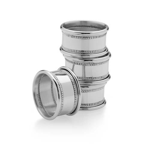 Empire Silver  Pewter Home and Tabletop Beaded Napkin Rings, set of 4 $110.00