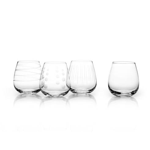 $68.00 14 Oz Stemless Clear Wine, Set Of 4