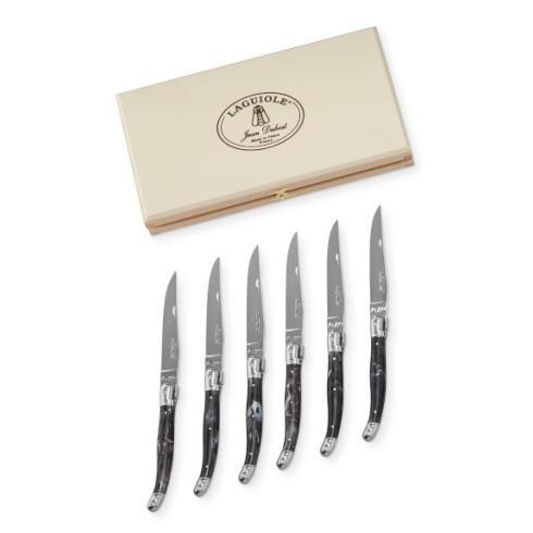 $200.00 Dubost Laguiole Black Faux Horn Steak Knives Set/6