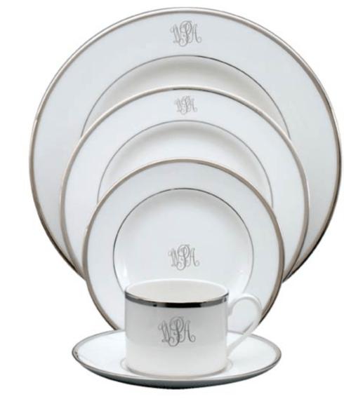 $80.00 White Body Platinum Rim No Trim Color Block Type Dinner Plate