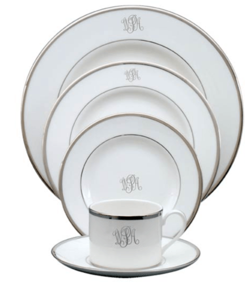 $80.00 White Body Platinum Rim No Trim Color Block Type Dinner Plate