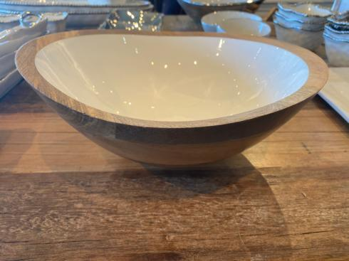 $130.00 XL MANGO WOOD & WHITE ENAMEL SERVING BOWL