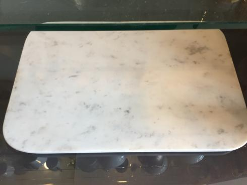 Simple Elegance Exclusives   WHITE MARBLE BOARD W/BRASS FEET $160.00