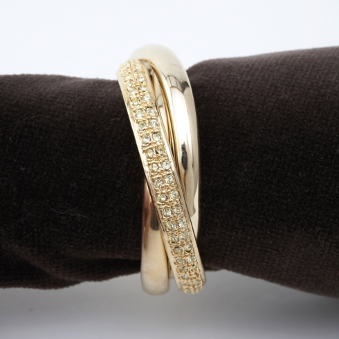 THREE RING NAPKIN RING S/4 GOLD W/CRYSTALS collection with 1 products