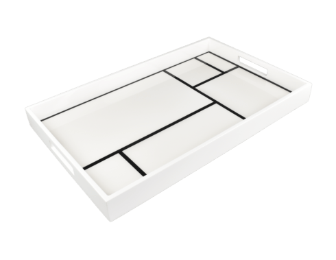 Pacific Connections   WHITE GRID RECTANGULAR TRAY 12 X 15 X 2 $195.00