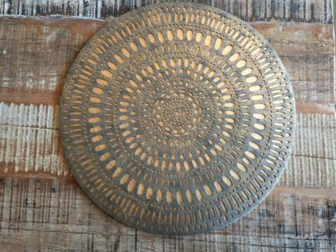 $528.00 KIM SEYBERT SET OF 12 PLACEMATS GOLD MANDALA