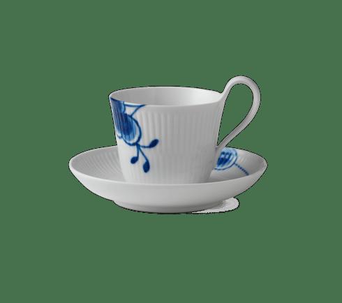 BLUE FLUTED MEGA HIGH HANDLE CUP & SAUCER SAMPLE