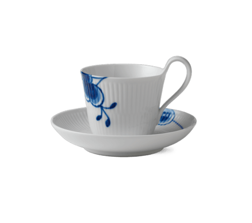 $50.00 BLUE FLUTED MEGA HIGH HANDLE CUP & SAUCER SAMPLE