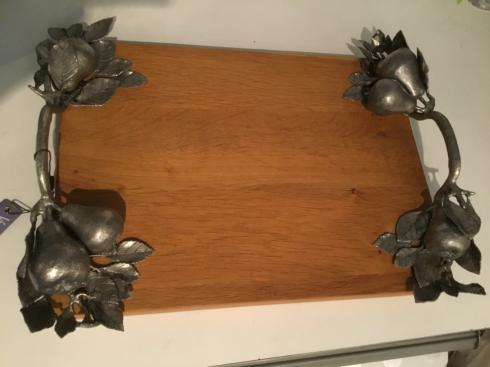 $220.00 WOOD AND PEWTER BOARD