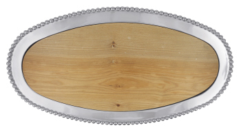 Mariposa   Pearled Oval Platter with Wood $249.99