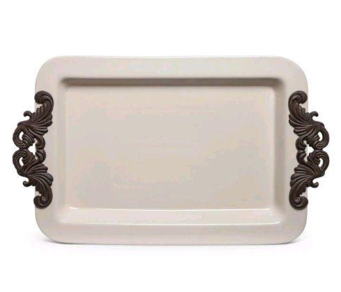 Gracious Goods   Acanthus Leaf Tray w/ Metal Handles $94.00