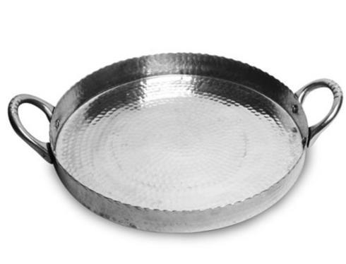 India Handicrafts   Round Hammered Tray with Handles $39.00