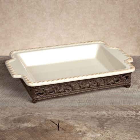 Gracious Goods   14x9 Stoneware Baker with Metal Base $90.00