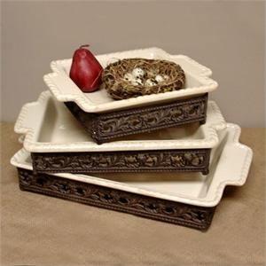 Gracious Goods   9x9 Stoneware Baker with Metal Base $81.00