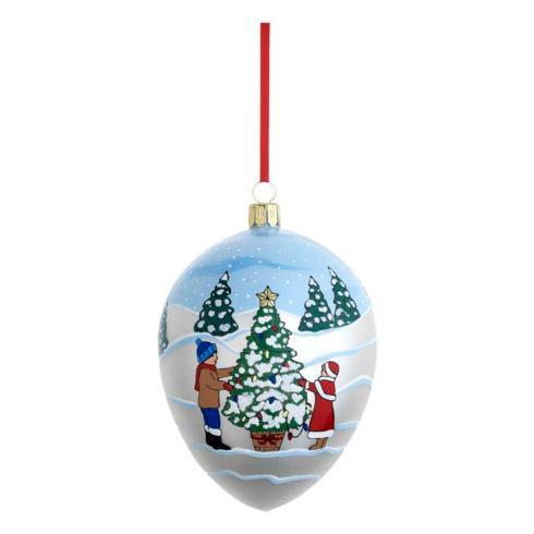 Decorating the Tree Egg Blown Glass Ornament