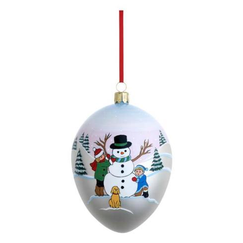 Snowman and Friends Egg Blown Glass Ornament