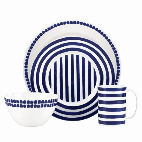 Kate Spade  Charlotte Street North 4-piece Place Setting, Navy $80.00