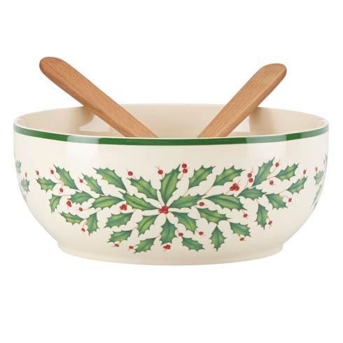 Lenox  Holiday Salad Bowl with Wood Servers $80.00