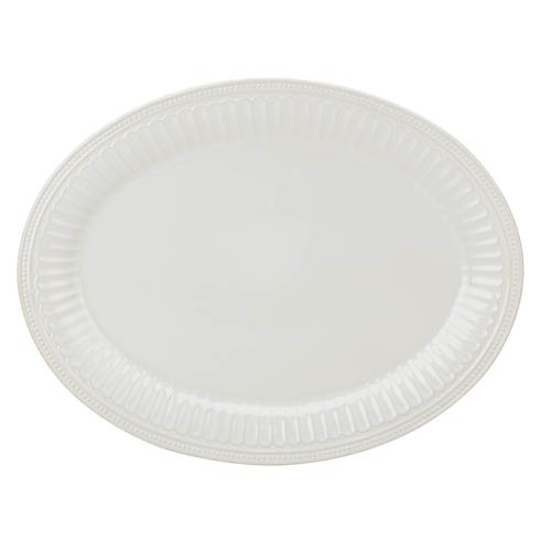 "Lenox French Perle Groove 16"" White Platter $99.95"