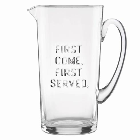 """$40.00 Deco Dot """"First Come, First Served"""" Pitcher"""