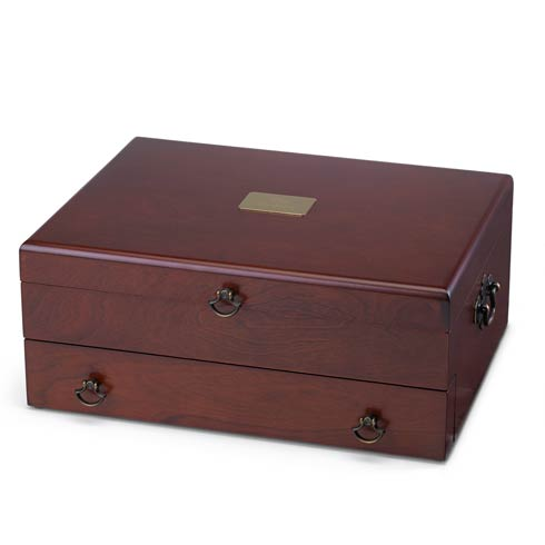 Personalizable Bristol Mahogany/Brown Flatware Chest