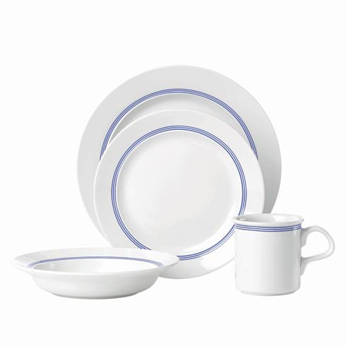 $150.00 Cafe Blanc Stripe 16pc Dinnerware Set