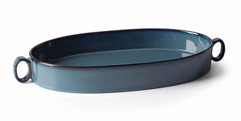 Dansk  Generations Ii Nordic Blue Oval Roaster $60.00